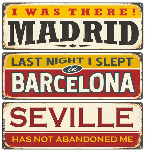 Unique retro tin sign collection with cities in Spain