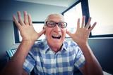 Senior man making a funny face