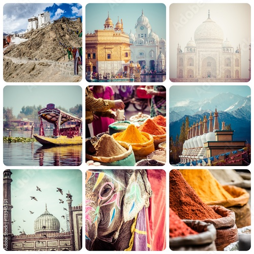 Poster Collage of India images - travel background (my photos)