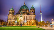 Amazing night colors of Berliner Dom, City Cathedral