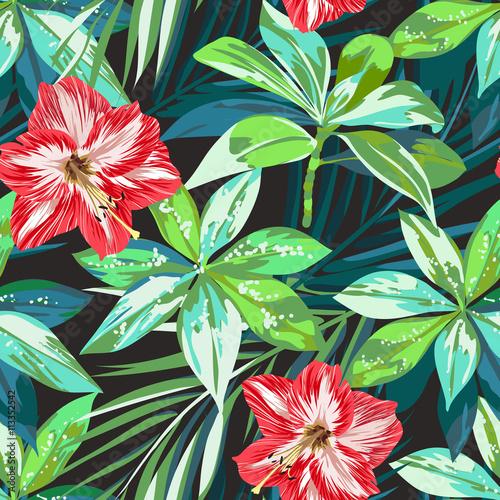 jaskrawy-kolorowy-tropikalny-bezszwowy-tlo-z-liscmi-i-kwiatami