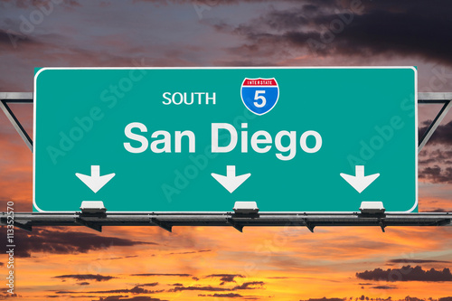 Plakat San Diego Interstate 5 South Highway Sign with Sunrise Sky