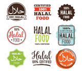 Halal food labels vector set. Badges design.
