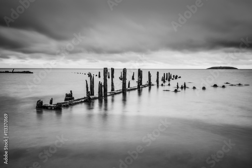 Pilmore Groynes, long exposure Poster