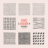 Fototapety Set of hand drawn textures and patterns. Vector design elements.