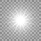 Fototapety White glowing light burst on transparent background.