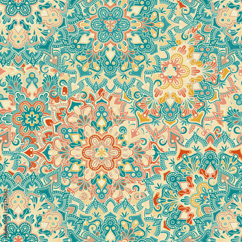 Cotton fabric Boho Flower Pattern