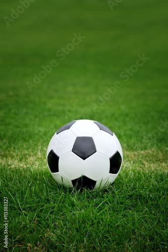 Poster Soccer ball on green grass