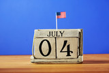 4th of July theme with wood block calendar