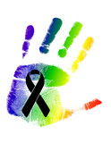 black ribbon over a pride rainbow flag hand print.