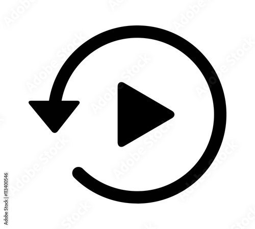 Past video play history arrow flat icon for apps and websites