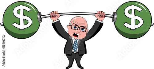 Bald cartoon businessman lifting heavy weights dollars isolated