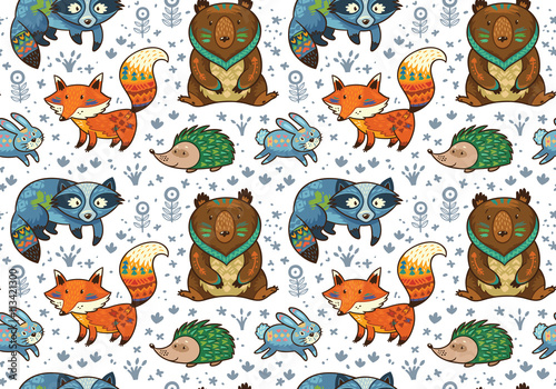 Cotton fabric Woodland annimals seamless pattern