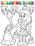 Coloring book cave woman theme 1