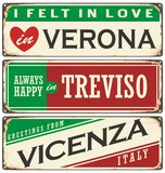 Vintage vector souvenirs or postcard templates with places in Italy