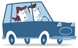 Driving an retro car. Retro style illustration of a couple traveling by car.