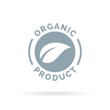 Organic product icon. Organic product sign with leaf shape symbol. Vector illustration.