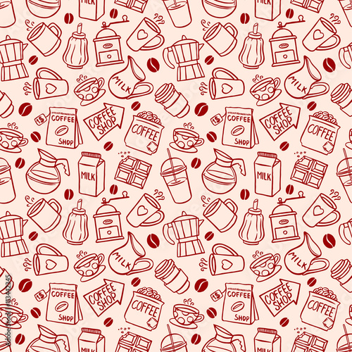 sketch seamless coffee background