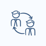 Staff turnover sketch icon.
