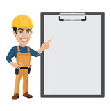 Construction Worker with Blank Paper on a Clipboard