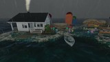 isolate home at rectangle ocean island at heavy rain time