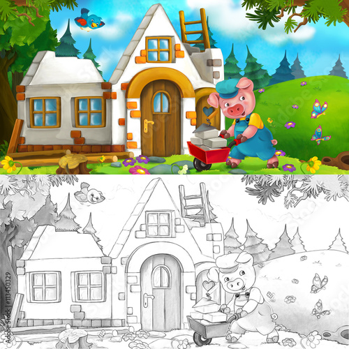 Cartoon scene of hard working pig - building a house - with coloring page - illustration for the children - 113450329