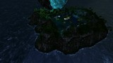 world lake island in open ocean at night