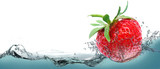 Juicy strawberry on a background of splashing water.