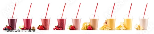 Foto op Aluminium Milkshake Nine, multifruit smoothies isolated on white, in plastic cup with fruits