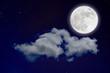 Wonderful background, night sky with full moon, stars, beautiful