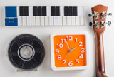 Music playing instrument set practice time. Clock time for Music lesson practice.