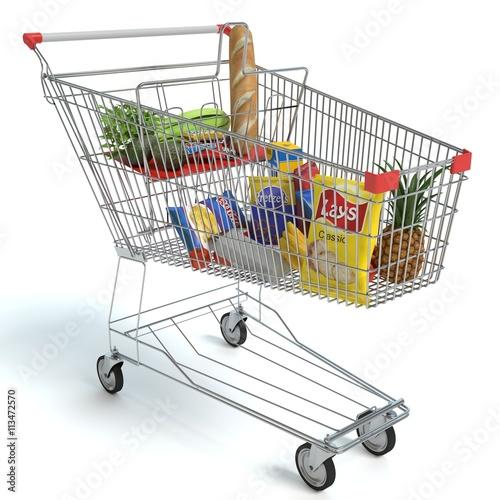 Keuken foto achterwand Boodschappen 3d illustration of a shopping cart of food