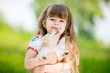 Quadro Little girl with a Golden retriever puppy