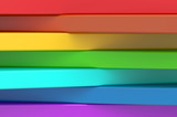 Abstract rainbow colors strips background, 3D rendering