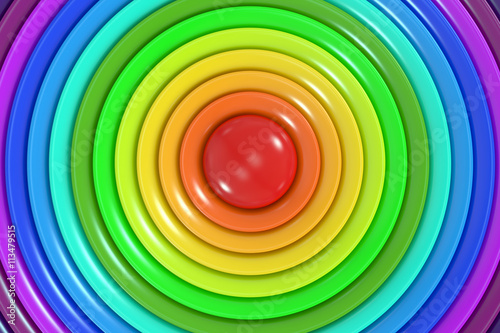 Abstract rainbow colors circle background, 3D rendering © alexlmx