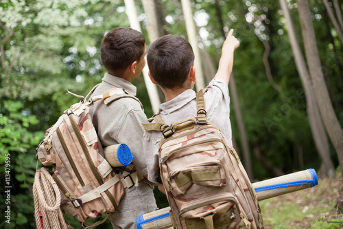 two boys go hiking with backpacks on a forest road bright sunny Poster