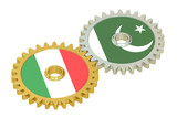 Italy and Pakistan flags on a gears, 3D rendering