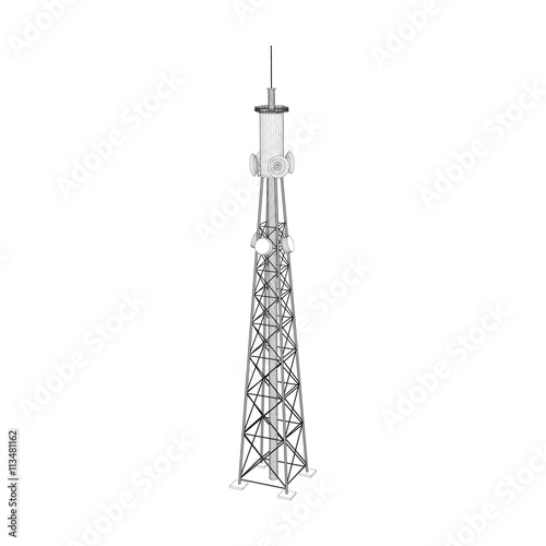 3d Radio Tower  Vector outline illustration  | Buy Photos