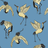 Seamless pattern with cranes