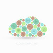 Vector modern concept cloud with flat outline icons set