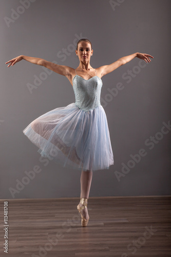 beautiful ballerina in point technique,posing Plakát