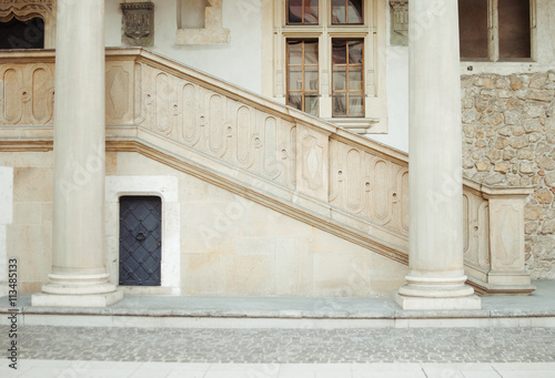 Poster Staircase of stone and two beige column
