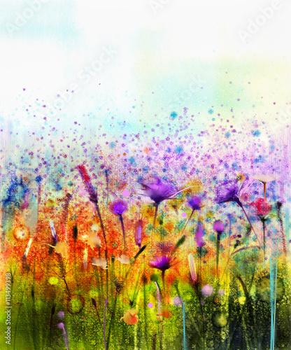 Naklejka Abstract watercolor painting purple cosmos flower,cornflower, violet lavender, white and orange wildflower. Wild flowers meadow, green field paintings. Hand paint floral in meadows. Spring background