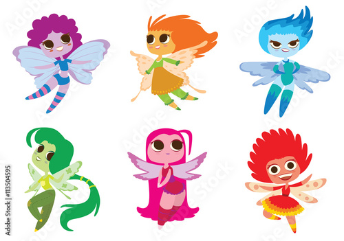 fototapeta na ścianę Vector set of cartoon images of cute female fairies with big eyes, butterfly wings and with different hair color on a white background. Made in a flat style. Positive characters. Vector illustration.