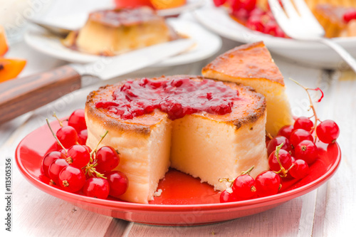 obraz PCV jam and cheesecake with currants