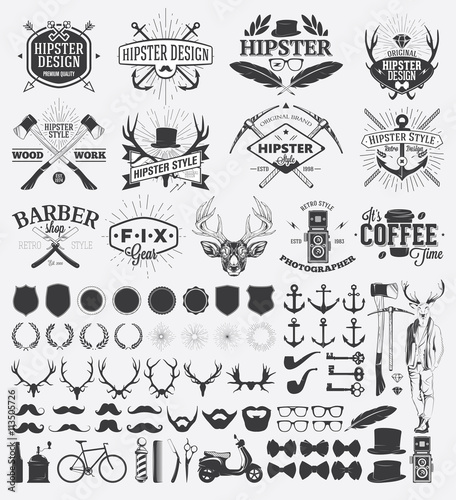 Aluminium Hipster Hert Hipster style design elements and vintage labels