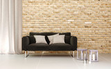 Fototapety 3D rendering of living room with brick wall