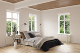 Modern bedroom with hardwood floor and ceiling - 113507733