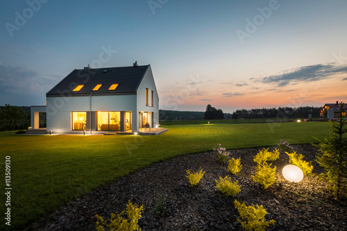 Modern house at night