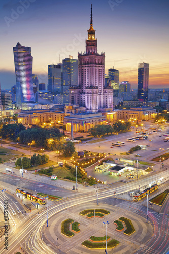 Fototapety, obrazy : Warsaw. Image of Warsaw, Poland during twilight blue hour.